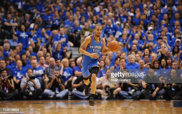 Oklahoma City Thunder point guard Eric Maynor brings the ball up court during a play against the Dallas Mavericks during Game Two of the Western...