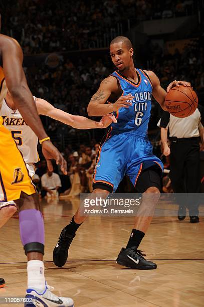 Oklahoma City Thunder point guard Eric Maynor protects the ball during the game against the Los Angeles Lakers at Staples Center on April 10 2011 in...