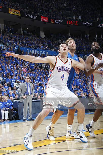Oklahoma City Thunder power forward Nick Collison waits for a rebound during the play against the Dallas Mavericks in Game Four of the Western...