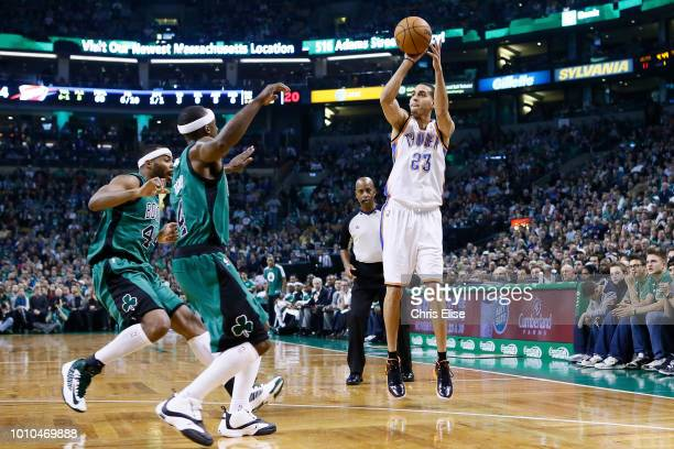 Oklahoma City Thunder shooting guard Kevin Martin takes a three point jumpshot during the Boston Celtics 108100 victory over the Oklahoma City...