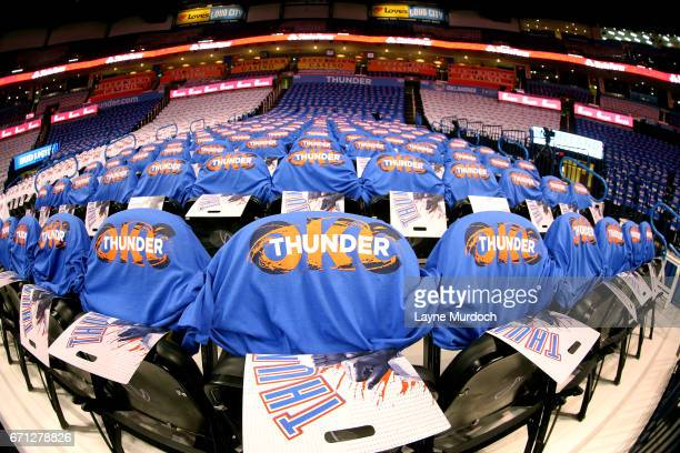 Oklahoma City Thunder team shirts are placed on seats for fans before the game between the Oklahoma City Thunder and the Houston Rockets during the...