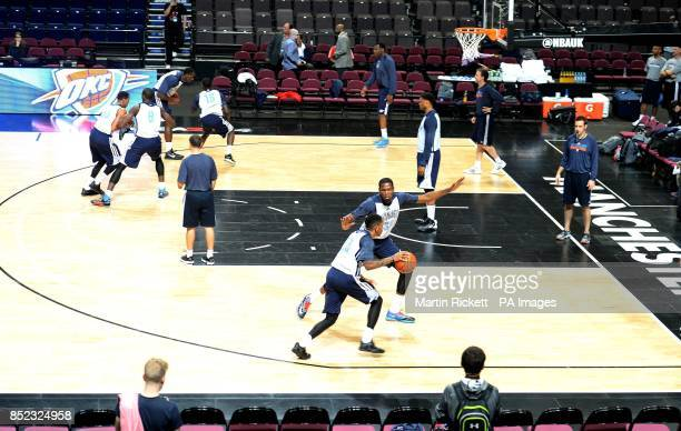 Oklahoma City Thunder's Kevin Durant guards Rodney McGruder during the practice session at the Phones4 u Arena Manchester