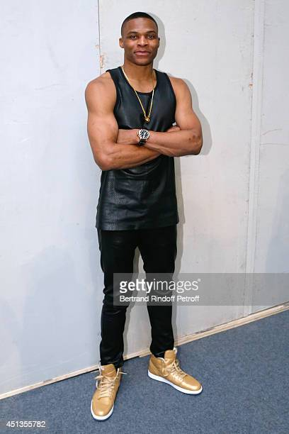 Oklahoma City's Thunder player Russell Westbrook poses backstage after the Givenchy show as part of the Paris Fashion Week Menswear Spring/Summer...