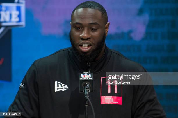 Oklahoma defensive lineman Neville Gallimore answers questions from the media during the NFL Scouting Combine on February 27 2020 at the Indiana...