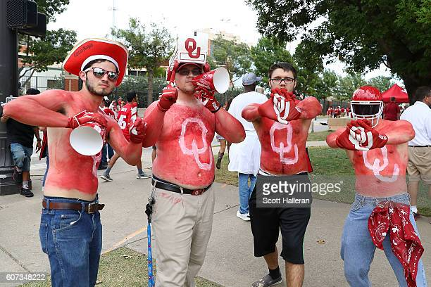 Oklahoma fans show their support prior to the game between Ohio State and Oklahoma at Gaylord Family Oklahoma Memorial Stadium on September 17 2016...