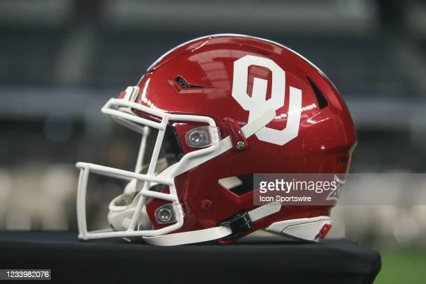 Oklahoma football helmet on display during the Big 12 Conference football media days on July 14, 2021 at AT&T Stadium in Arlington, TX.