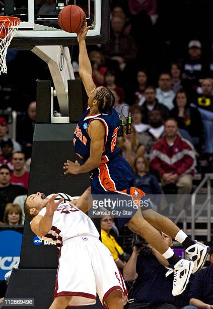 Oklahoma forward Blake Griffin gets the call as Morgan State guard Rogers Barnes is called for charging on Thursday March 19 2009 The Sooners...