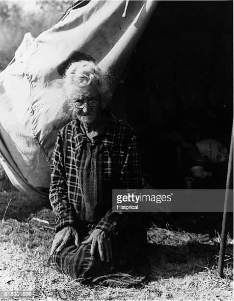 Oklahoma grandmother and migrant living in a migrant camp near Bakersfield California November 1936