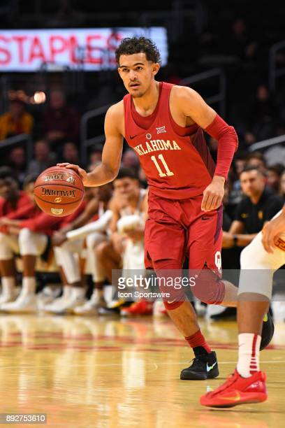 Oklahoma guard Trae Young sets up the offense during an college basketball game between the Oklahoma Sooners and the USC Trojans in the Basketball...