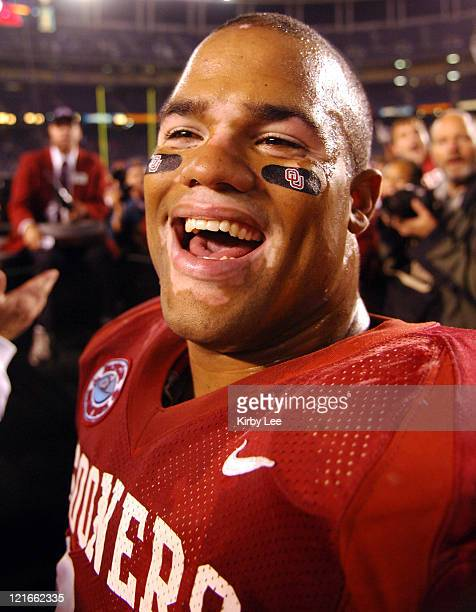 Oklahoma junior defensive end CJ Ah You celebrates 1714 victory over Oregon in the Holiday Bowl at Qualcomm Stadium in San Diego Calif on Thursday...