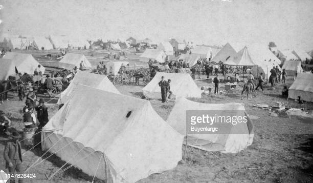 Oklahoma Land Rush image showing an active camp scene. Oklahoma Land Rush: Active Camp Scene.