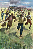 Oklahoma land rush men are shown running in a wild scramble for town picture id517202988?s=170x170