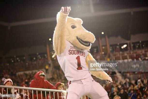 Oklahoma mascot performs for the crowd during a college football game between the Oklahoma Sooners and the Texas Tech Red Raiders on October 28 at...