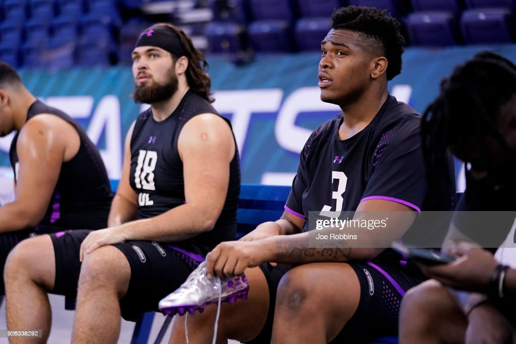 Oklahoma offensive lineman Orlando Brown (R) and Arizona State offensive lineman Sam Jone look on during the 2018 NFL Combine at Lucas Oil Stadium on March 2, 2018 in Indianapolis, Indiana.