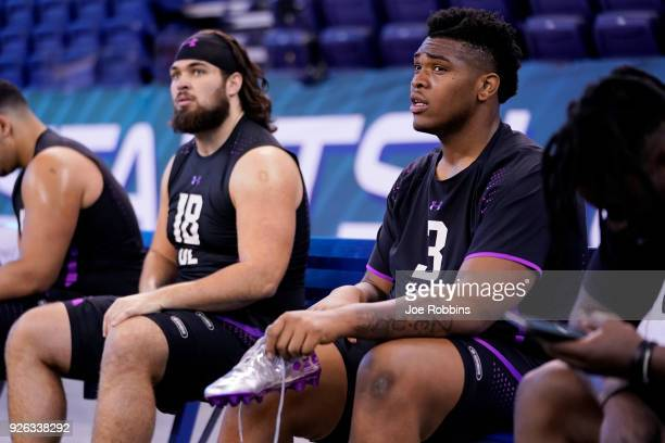 Oklahoma offensive lineman Orlando Brown and Arizona State offensive lineman Sam Jone look on during the 2018 NFL Combine at Lucas Oil Stadium on...
