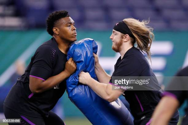 Oklahoma offensive lineman Orlando Brown and Humboldt State offensive lineman Alex Cappa in action during the 2018 NFL Combine at Lucas Oil Stadium...