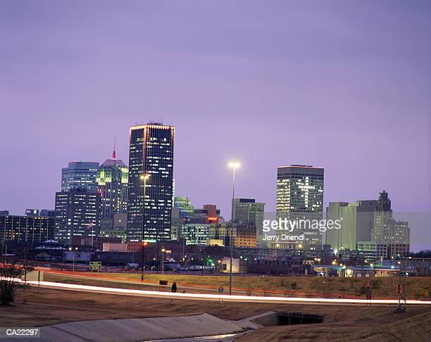 USA, Oklahoma, Oklahoma City, skyline at sunset