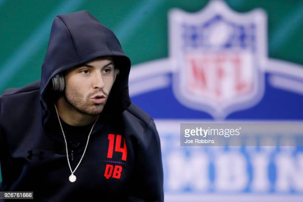 Oklahoma quarterback Baker Mayfield looks on during the NFL Combine at Lucas Oil Stadium on March 3 2018 in Indianapolis Indiana