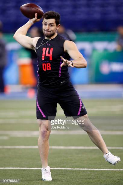 Oklahoma quarterback Baker Mayfield throws during the NFL Combine at Lucas Oil Stadium on March 3 2018 in Indianapolis Indiana