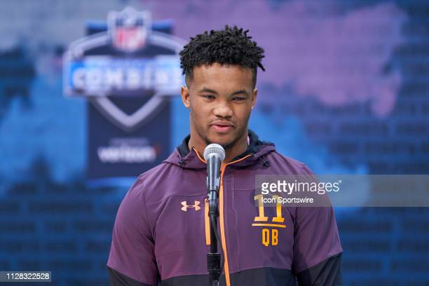 Oklahoma quarterback Kyler Murray answers questions from the media during the NFL Scouting Combine on March 01 2019 at the Indiana Convention Center...