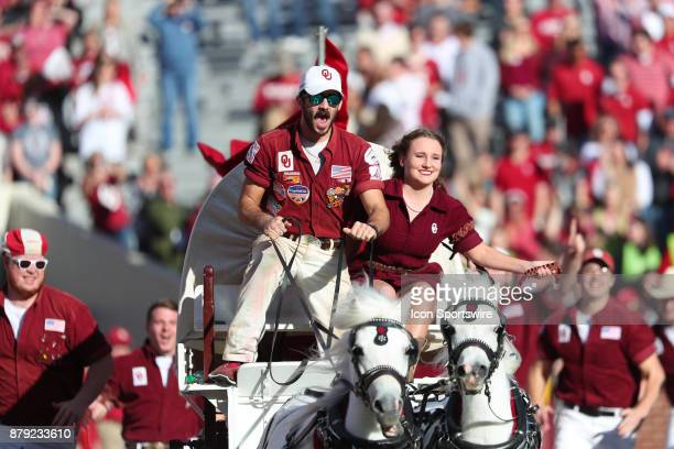 Oklahoma Ruf Neks storming the field during a college football game between the Oklahoma Sooners and the West Virginia Mountaineers on November 25 at...