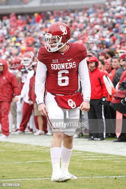 Oklahoma Sooner quarterback Baker Mayfield during the University of Oklahoma Sooners game against the Oklahoma State University Cowboys December 03...