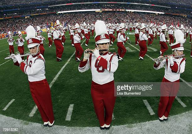 Oklahoma Sooners band members play before the game against the Boise State Broncos at the Tostito's Fiesta Bowl at University of Phoenix Stadium on...