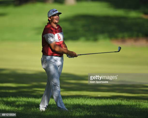 Oklahoma Sooners Blaine Hale hits from the rough on the 15th hole against the Oregon Ducks during the final round of the NCAA Division I Men's Golf...