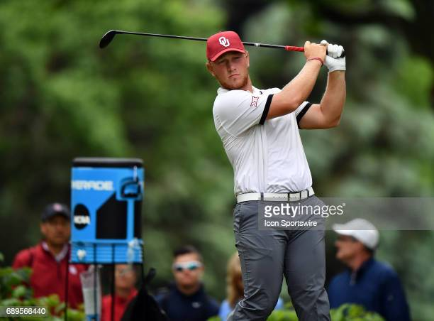 Oklahoma Sooners Brad Dalke plays the ball from the tee during round 3 of the Division I Men's Golf Championships on May 28 2017 at Rich Harvest...