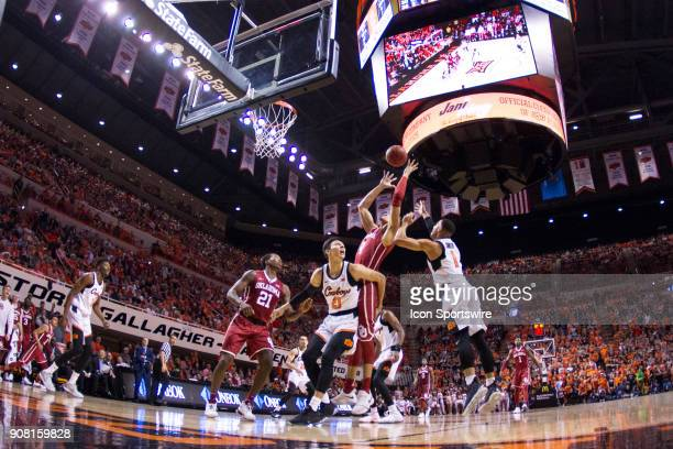 Oklahoma Sooners center Jamuni McNeace goes up after a rebound during the college Big 12 conference mens basketball game between the Oklahoma Sooners...
