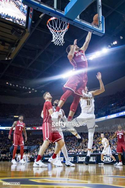 Oklahoma Sooners center Jamuni McNeace goes up for a rebound during the college mens basketball game between the Oklahoma Sooners and the Wichita...