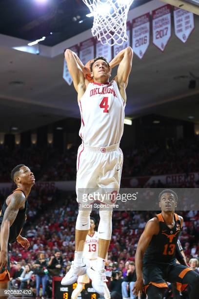 Oklahoma Sooners Center Jamuni McNeace looking for the slam dunk during a college basketball game between the Oklahoma Sooners and the Texas...