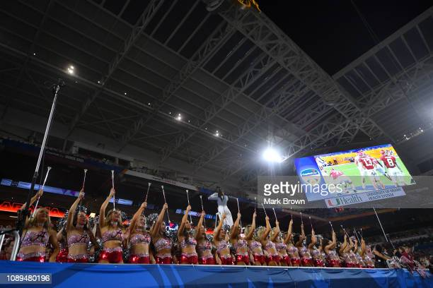 Oklahoma Sooners cheerleaders in action against the Alabama Crimson Tide at the Capital One Orange Bowl at Hard Rock Stadium at Hard Rock Stadium on...