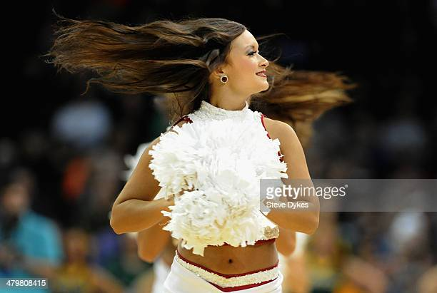 Oklahoma Sooners cheerleaders perform during halftime of the game between the Oklahoma Sooners and the North Dakota State Bison during the second...