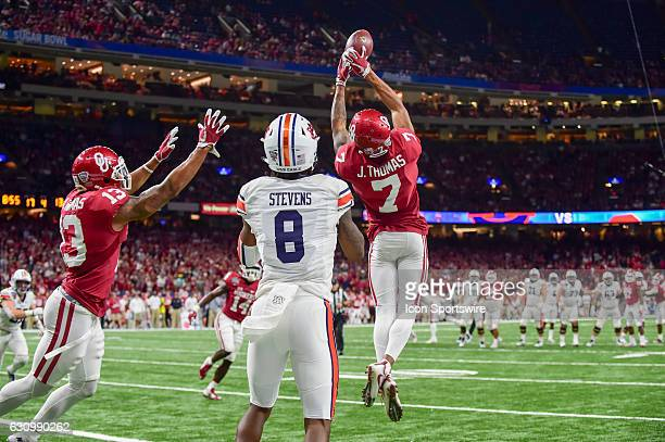 Oklahoma Sooners cornerback Jordan Thomas extends for a juggling second half interception of a pass intended for Auburn Tigers wide receiver Tony...