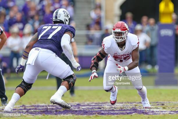 Oklahoma Sooners defensive lineman Kenneth Mann rushes against TCU Horned Frogs offensive tackle Lucas Niang during the game between the Oklahoma...