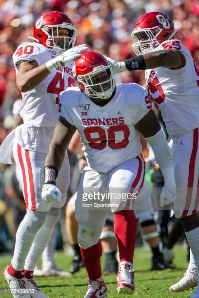 Oklahoma Sooners defensive lineman Neville Gallimore celebrates after a sack during the Big 12 Red River Showdown game against the Texas Longhorns on...