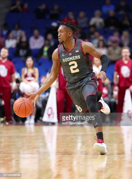 Oklahoma Sooners Guard Aaron Calixte during a college basketball game between the Oklahoma Sooners and the Southern California Trojans on December 15...
