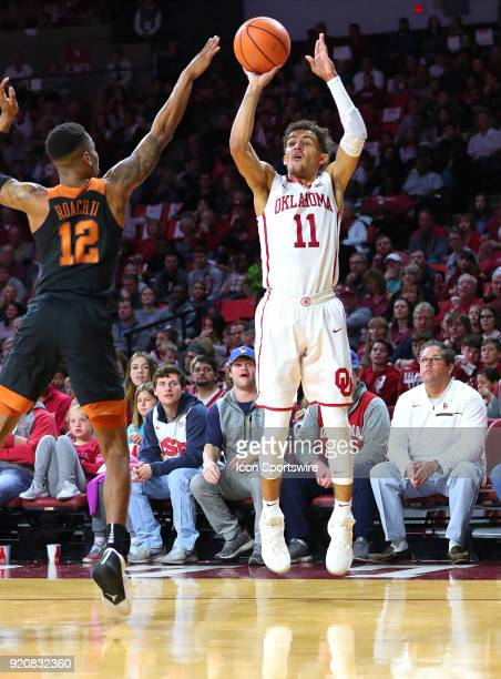 Oklahoma Sooners Guard Trae Young during a college basketball game between the Oklahoma Sooners and the Texas Longhorns on February 17 at the Lloyd...