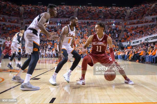 Oklahoma Sooners guard Trae Young during the college Big 12 conference mens basketball game between the Oklahoma Sooners and the Oklahoma State...