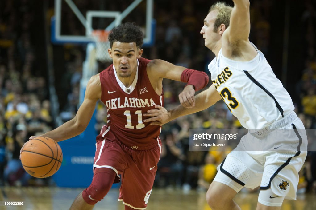 Oklahoma Sooners guard Trae Young (11) during the college mens basketball game between the Oklahoma Sooners and the Wichita State Shockers on December 16, 2017 at the Intrust Bank Arena in Wichita, Kansas.
