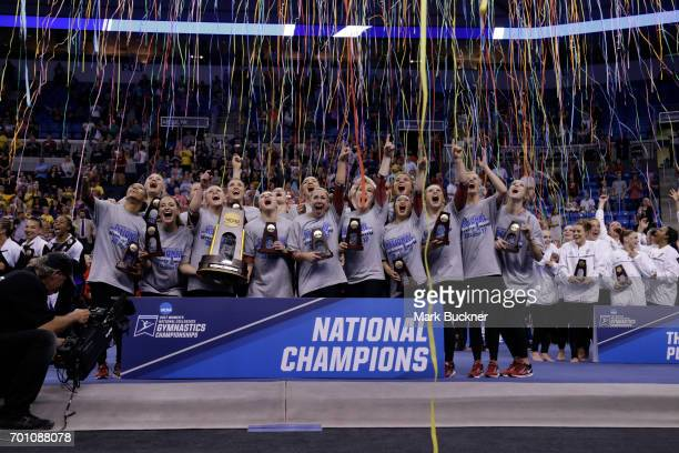 Oklahoma Sooners gymnastics wins the Division I Women's Gymnastics Championship is held at Chaifetz Arena on April 15 2017 in St Louis Missouri
