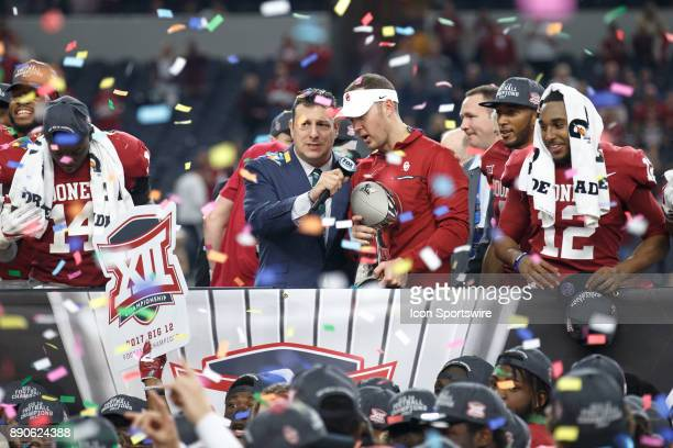 Oklahoma Sooners head coach Lincoln Riley is interviewed during the Big 12 Championship game between the Oklahoma Sooners and the TCU Horned Frogs on...