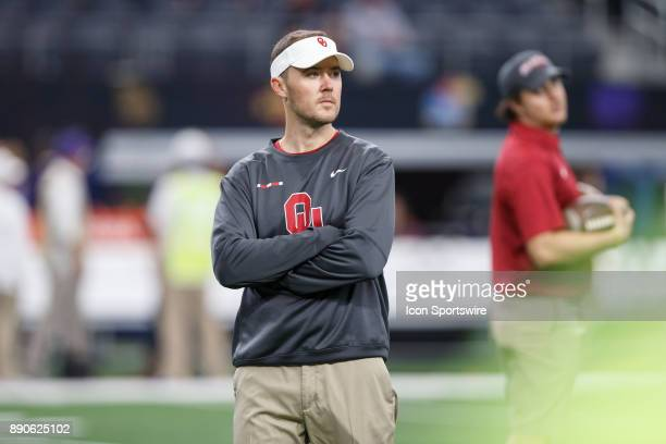 Oklahoma Sooners head coach Lincoln Riley looks on during the Big 12 Championship game between the Oklahoma Sooners and the TCU Horned Frogs on...
