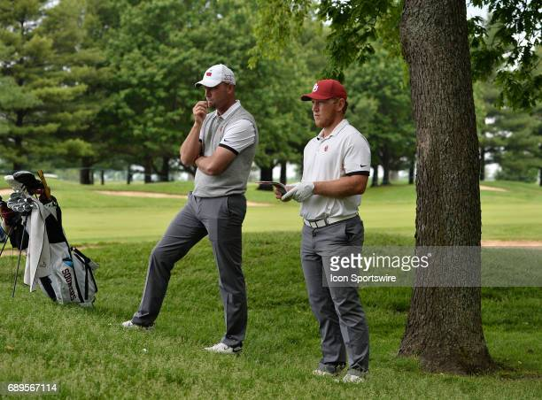 Oklahoma Sooners head coach Ryan Hybl and Oklahoma Sooners Brad Dalke during round 3 of the Division I Men's Golf Championships on May 28 2017 at...