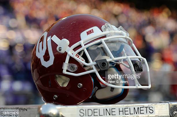 Oklahoma Sooners helmet on the sidelines during a game against the Kansas State Wildcats on October 29, 2011 at Bill Snyder Family Stadium in...