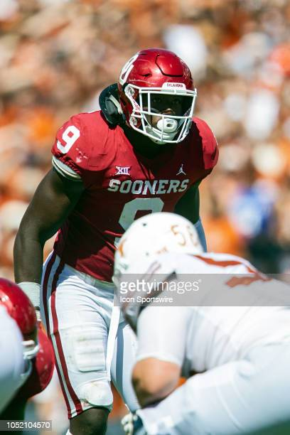 Oklahoma Sooners linebacker Kenneth Murray during the Red River Showdown between the Oklahoma Sooners and the Texas Longhorns on October 6 at the...