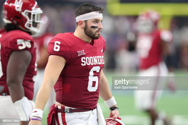 Oklahoma Sooners QB Baker Mayfield is all business before the BIG12 Championship college football game between the Oklahoma Sooners and the Texas...