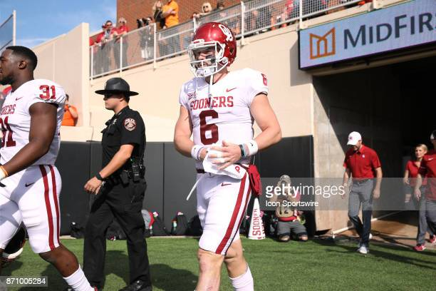 Oklahoma Sooners QB Baker Mayfield is all business beforeduring a college football game between the Oklahoma Sooners and the Oklahoma State Cowboys...