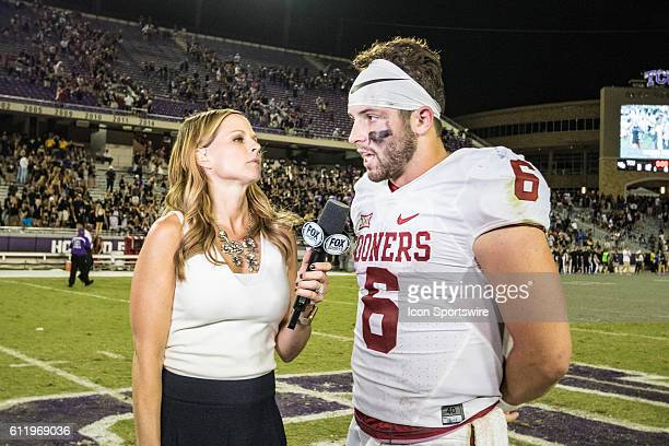 Oklahoma Sooners quarterback Baker Mayfield is interviewed by Fox sideline reporter Shannon Spake after the game between the TCU Horned Frogs and the...